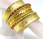 Gold  and Silk Bracelet Set